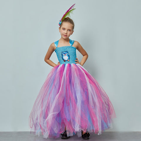 Fluffy Girls Blue Owl Gown Tutu Dress With Feather Hair Clip Children Birthday Party Pageant Animal Costume Kids Photo Dress