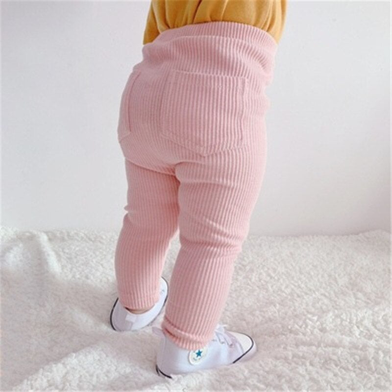 2Pcs Set Solid Baby High Waist Pants Cotton Baby Girls Leggings Pants for Baby Boy Spring Casual Kids Long Trousers