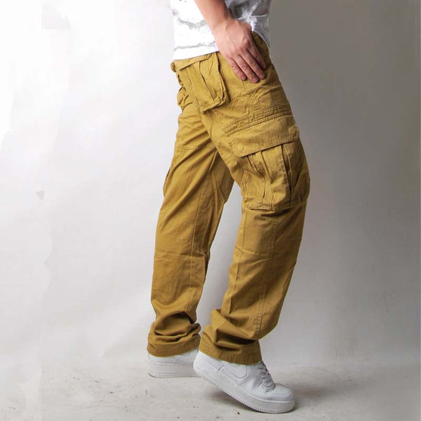 Men's Cargo Pants High-End Plus Size Multi-Pockets Overalls Full-Length Army Style Loose 3 Colors Men's Casual Trousers