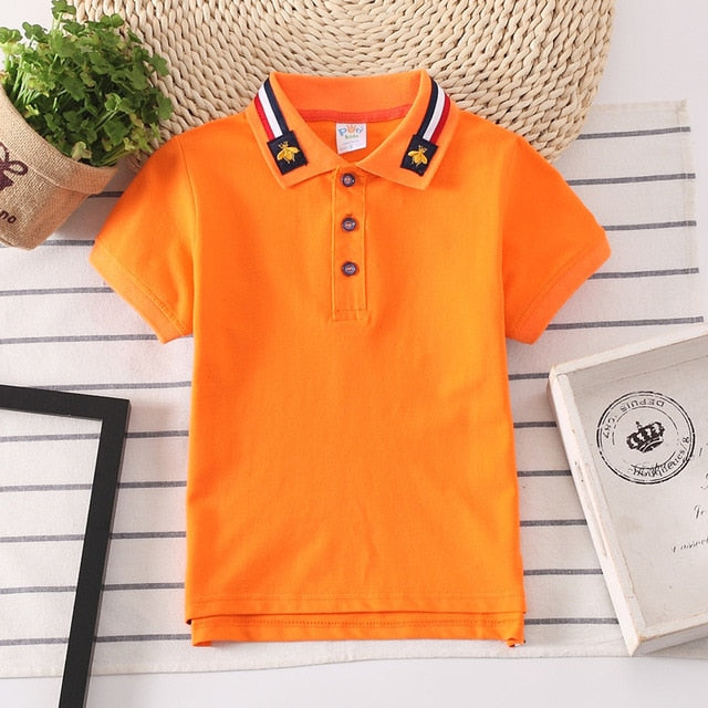 Boys Shirt Short Sleeve Kids Polo Shirts for Boys Collar Tops Tees Baby Boys Girls Shirt 2-14 Years Child Clothes