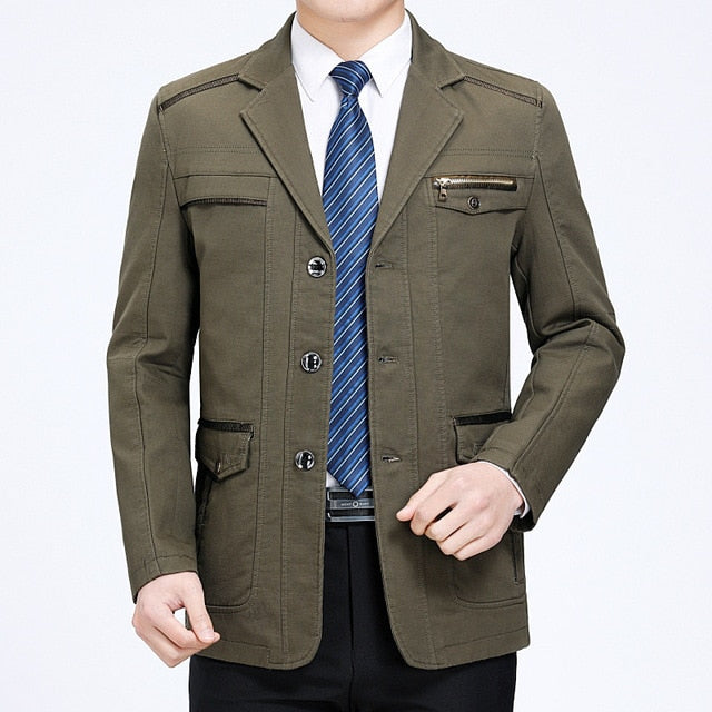 Spring Autumn Luxury Men Cargo Blazers New High Quality  Slim Fit  Suit Jacket