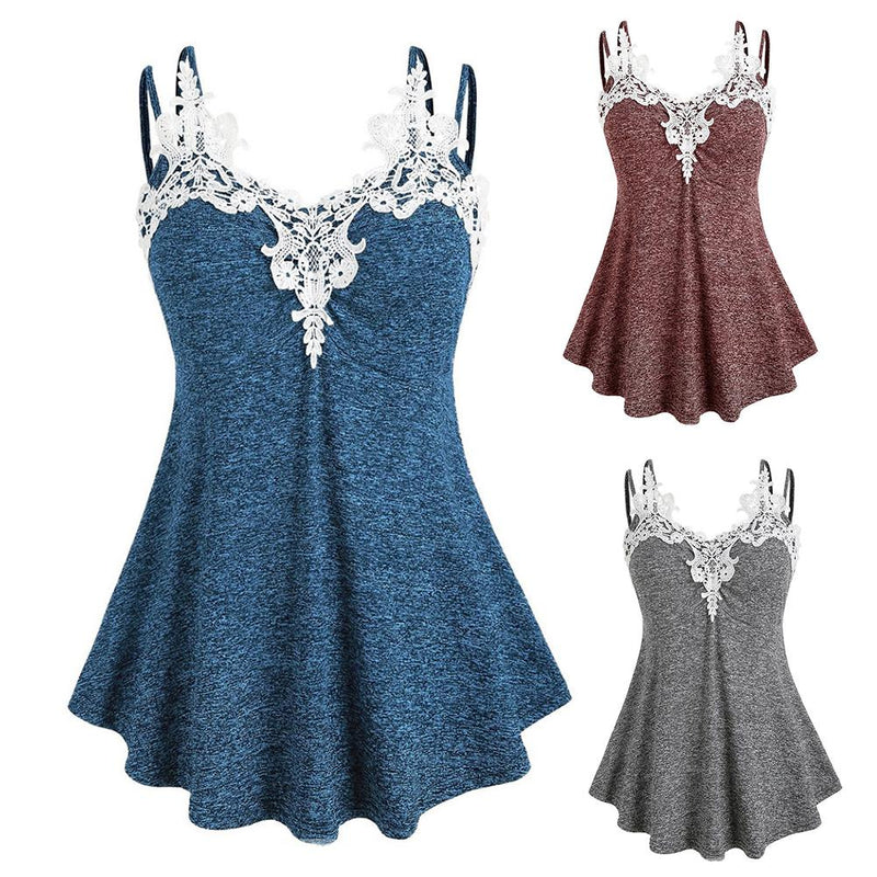 Women Casual Summer Sleeveless V-neck Lace Collar Camisole Top Vest