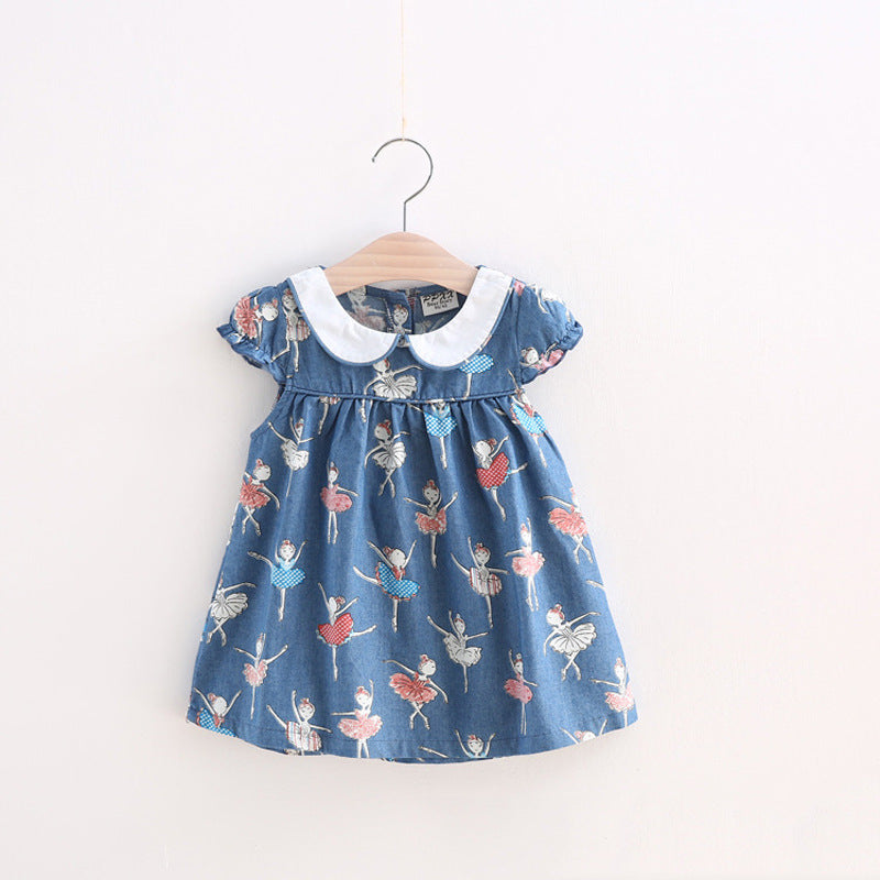 Small Girls Dress Full Print Ballet Dancer girl Butterfly Kids Peter Pan Collar Princess Dress Baby Summer Clothing