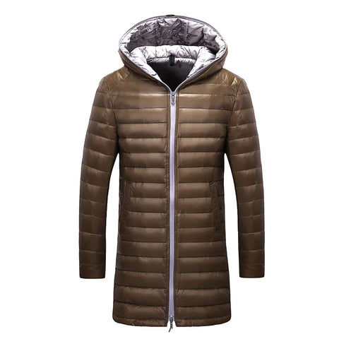 Men's long down jacket brand Tace & Shark ultra thin down jacket men slim fit winter duck down jacket for men