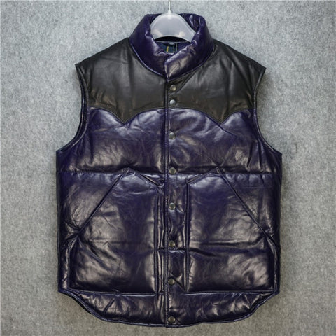 Winter Mens Snow Clothing Stand Collar Down Vest Man Real Leather Waistcoat Men Warm Single Breasted Sleeveless Jacket Male
