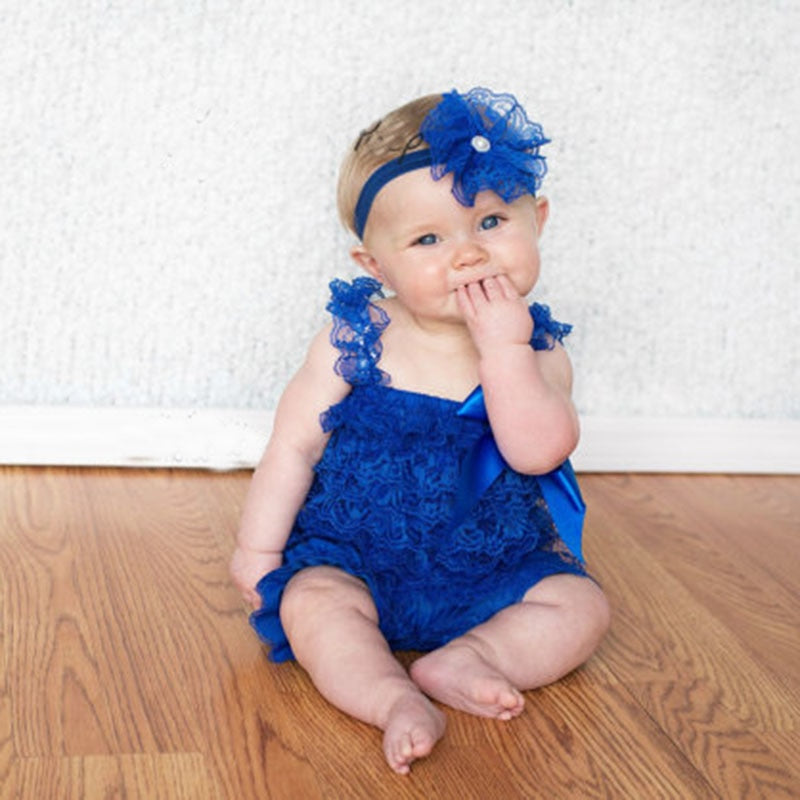 508419d4bac4 Baby Girls Lace Ruffled Romper Toddler Infant Jumpsuit Cake Smash ...