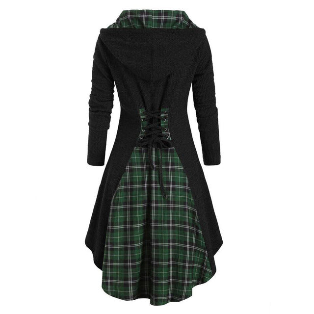 Women Blouse Long Sleeve Plaid Blouses Button Lace Tunic Dress Blouses Woman Hooded Casual Ladies Tops