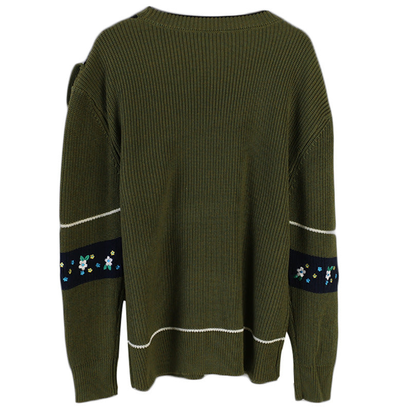 Green Womens Sweaters Winter Sweaters Woman Loose Pullover Sweater Female Casual Jumpers Embroidery Floral