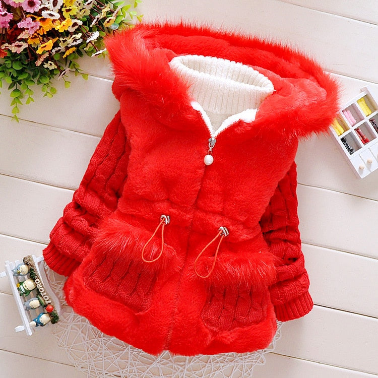 New Girls Cotton Padded Winter Cotton Coats children's Keep Warm Thick Hooded Zipper Outerwear Baby Girl Clothes