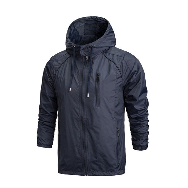 Waterproof Jacket Autumn Mens Hooded Jackets Slim Long Sleeve Homme Trendy Windbreaker Coat Clothing
