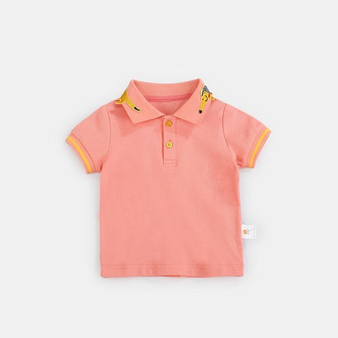 Summer New Boys girls Short Sleeve Polo Shirt 1-5 Y Children Lapel Solid Color Clothes Kids shirt Out
