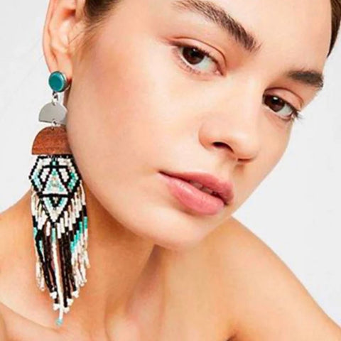 Handmade Beaded Earrings Bohemian Women Multicolor Statement Long Tassel Beads Dangle Earrings Ethnic Jewelry Girls