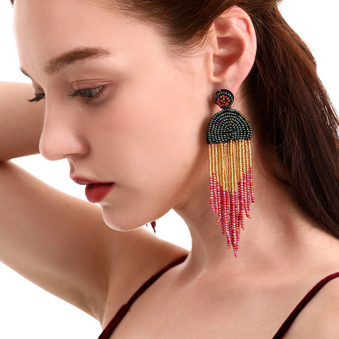Ethnic style eardrop handmade beads colorful rice beads Bohemian tassel earrings European and American earring