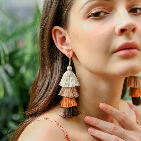 New multi-layer tassel earrings European and American ethnic style long earring bohemian eardrop accessories