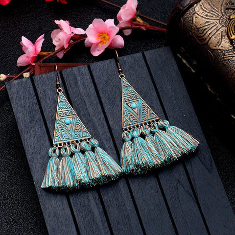 European and American bohemian vintage geometric triangle wool tassel earrings
