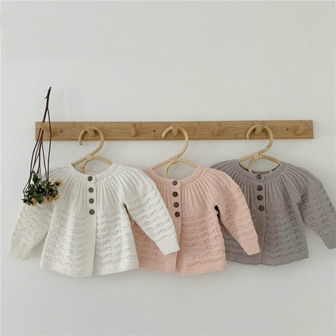 Newborn Knit Sweater Female baby cardigan hollow pattern princess temperament long-sleeved shirt jacket Baby Sweater Girl