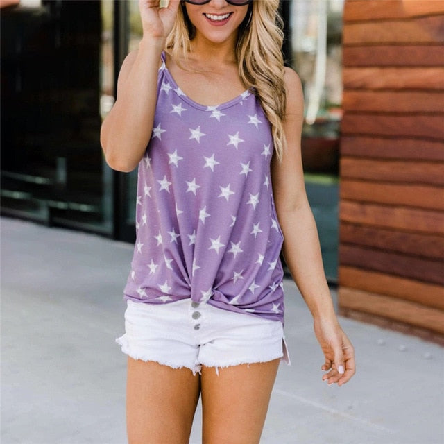 Women Sleeveless Top Tee Shirts Summer Knot Tanks For Women Casual tshirt Female