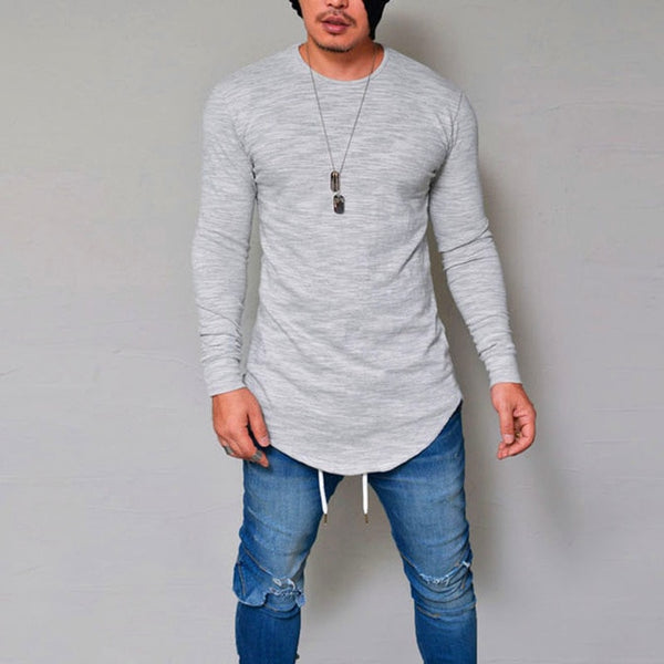 New Spring Fashion O-Neck Slim Fit Long Sleeve T Shirt Men Trend Casual Mens T-Shirt Black White T Shirts Tops 3XL
