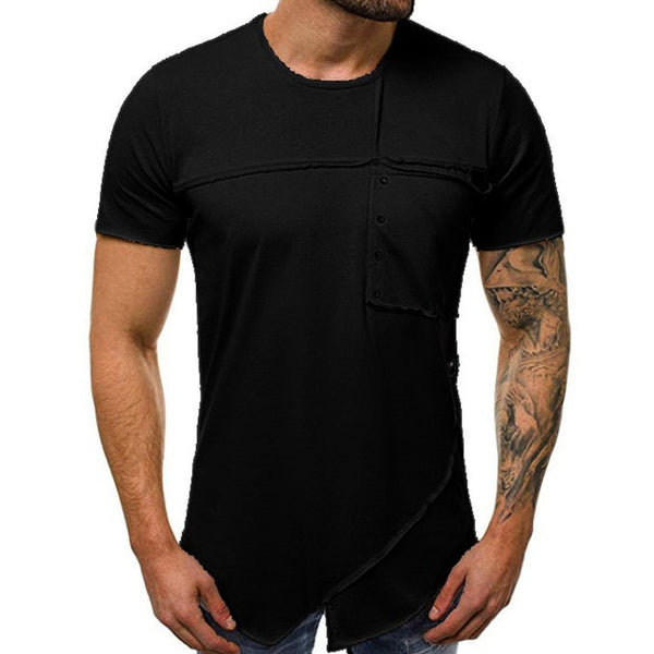 new hip hop t shirts streetwear t shirt Men patchwork basic short sleeve tops o-neck t shirt male clothing