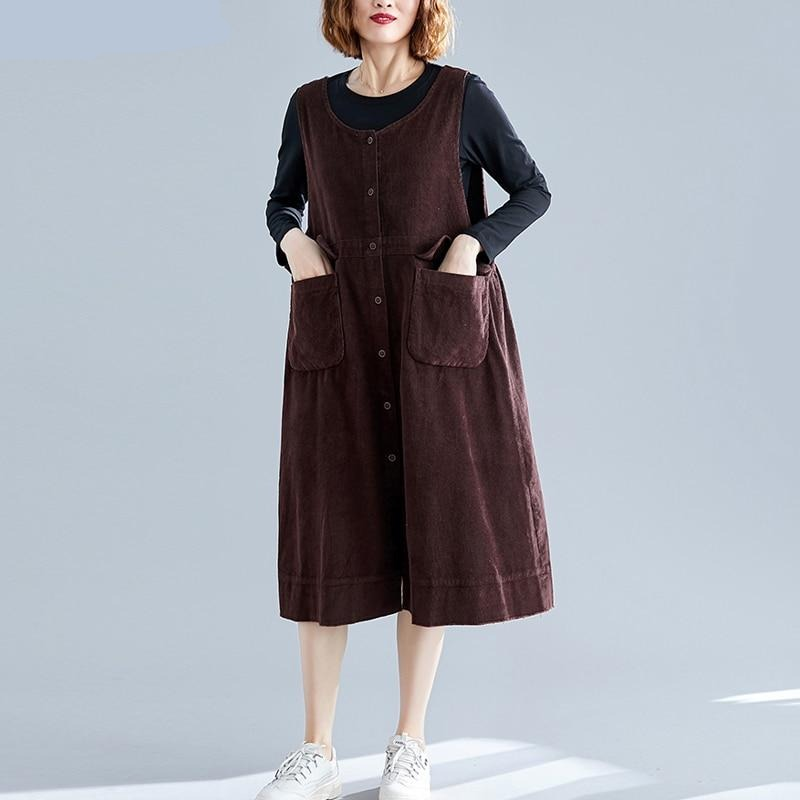 Plus Size Women Dress Autumn Sleeveless Corduroy Basic Casual Big Size Female Lady Vestidos Loose Solid Dress Thick