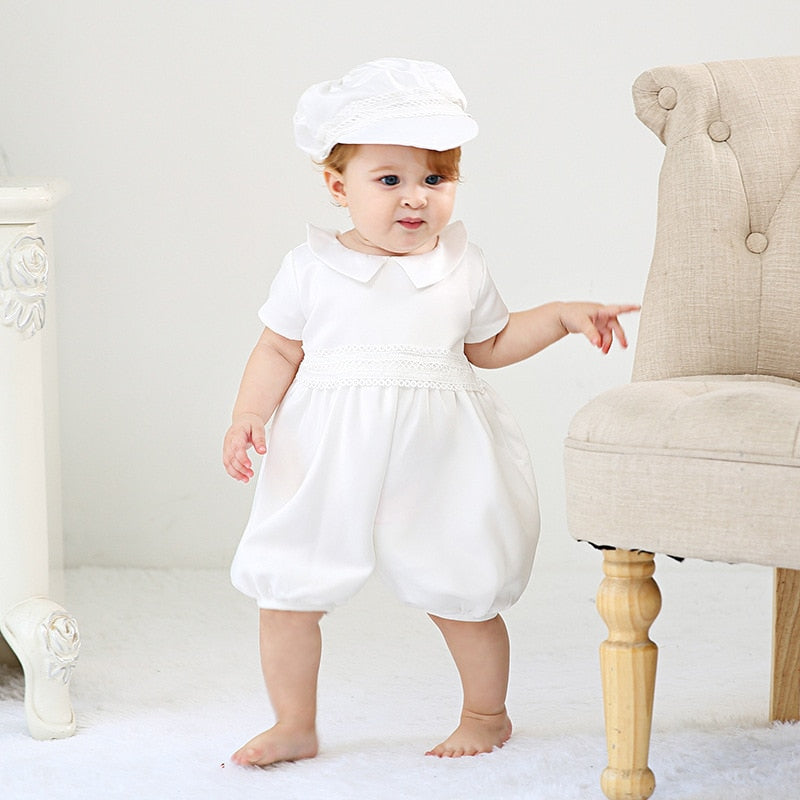 Baby Boy Christening Sets for Newborns Infant White Rompers with Hat Children Christening Outfit Boys Baptism One Piece Jumpsuit