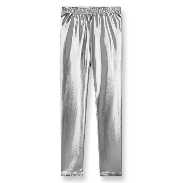 Baby Girl Metallic Shiny Skinny Pants Leggings Casual Cool Pants Cropped Pants Children Clothes For Kids