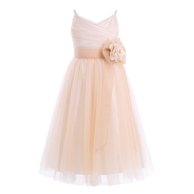 Kids Girls Pleated Tulle Mesh Shoulder Straps Flower Girl Dress With Mesh Bowknot Princess Pageant Wedding Party Dress