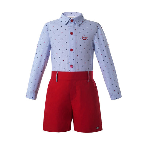 Boys Summer Clothes Blue T-Shirt Cat Pattern Kids Clothes Boys Outfits With Cotton Red Pant Children Clothing