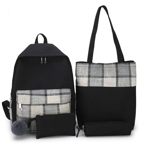 New Girl Plaid School Bags Women Travel Canvas Rucksack Deman 4Pcs Set Backpack For School Teenage Girls Patchwork Shoulder Bags