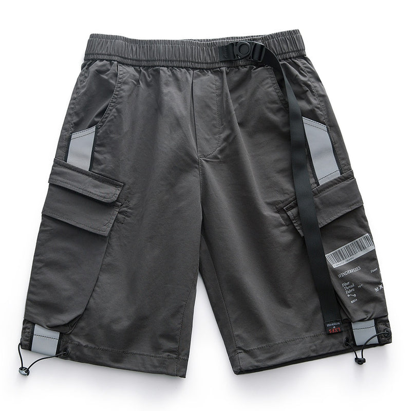 Knee Length Shorts Men Reflective Strip Magic Buckle Elastic Belt Cargo Short Men Cotton Stretch Mens Shorts