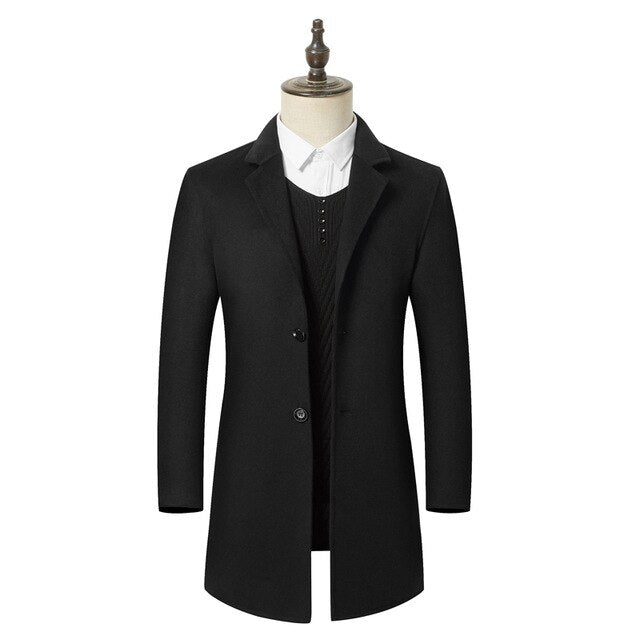 Men Clothes Autumn Winter New Cashmere Coat Business Casual High Quality Long Slim Wool Jacket Male