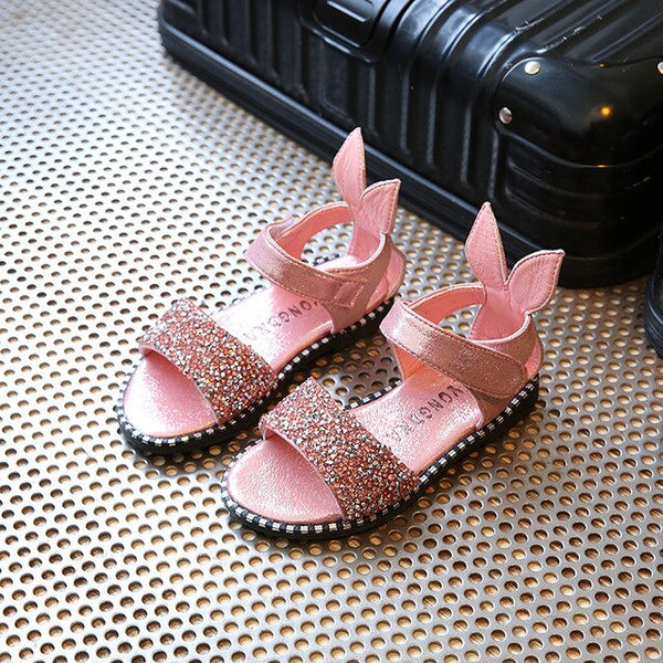 Summer New Girls Sandals Casual Children Shoes Cute Rabbit Diamond Shoes Pink Silver Black Toddler Baby Kids Sandals Flats