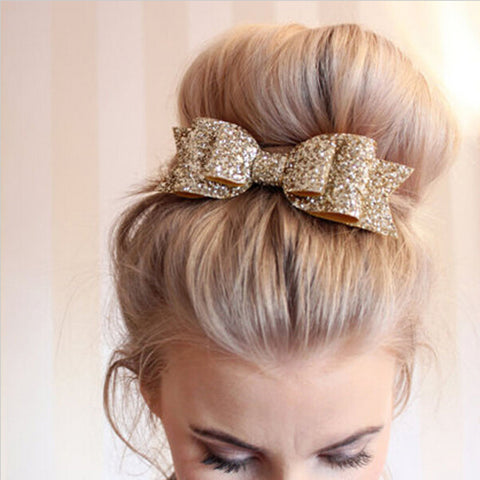 Pale Gold Glitter Bow Hair Clip for Girl and Women Barrettes Sequin Girls Bow Clip Hair Pin Luxury Girl Hairpin Hair Accessories