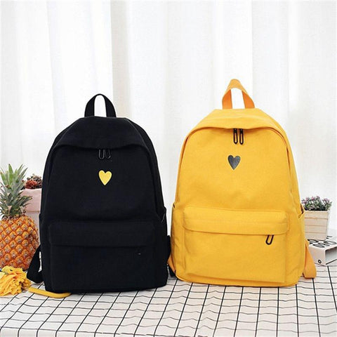 Canvas Backpack Simple Love Decor Backpack for Girl School Travel Trip Shopping teenagers school backpack (Black)