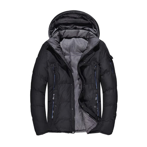 Autumn and winter men's down jacket thick cotton jacket casual solid color men's coat hooded warm Parkas