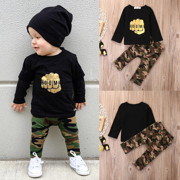 Newborn Baby Boy Toddler Clothes Set T Shirt Tops Long Sleeve Pants Cotton Outfits Set Clothing