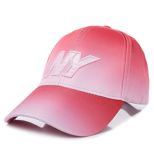New Women Tie Dye Cap NY Letter Embroidered Baseball Cap Dazzling Female Casual Adjustable Outdoor High Quality Hat Cap