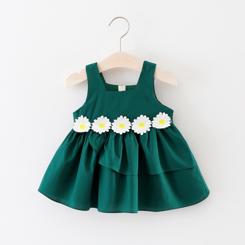 Girls Dress Summer New Korean Style Cotton Little Baby Girl Clothes Flower Embroidery Sleeveless Princess Dress