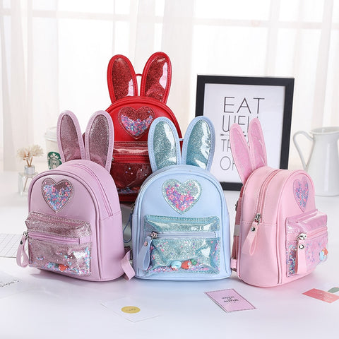 Kids Leather Backpack Cartoon Girls Rabbit Ear School Bag for Girl Glitter Sequin School Backpack Bags