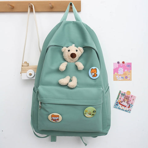 New Student Cute Bear Backpack Backpacks for Teenage Girls Nylon Shoulder Travel Bag Multi-Pocket School Back Pack