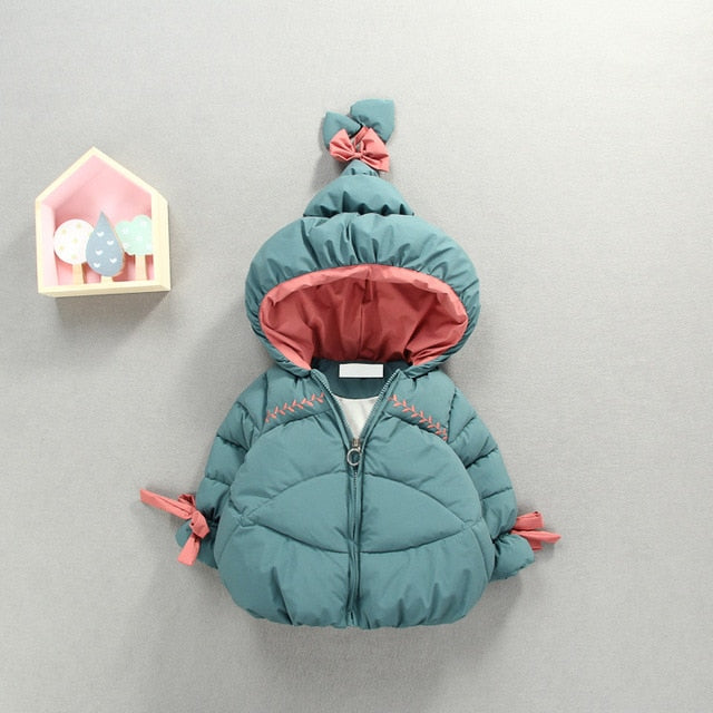 Children's warm clothes winter baby girls bow cute hat cotton-padded jacket thickening brim jacket kids baby girl cloths
