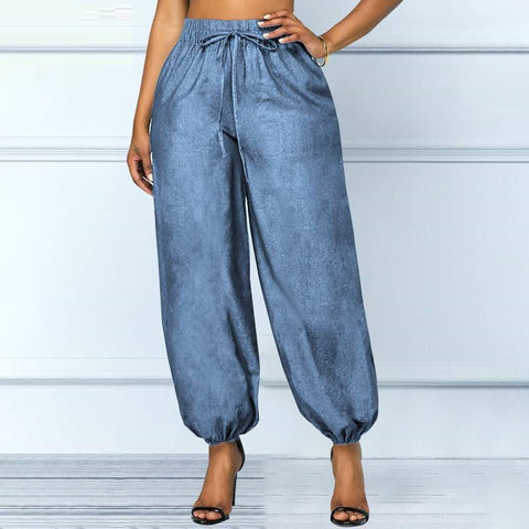 Womens Denim Jeans Pants Casual Loose Elastic Waist Trousers Loose Pocket Harem Pants Female Pantalons