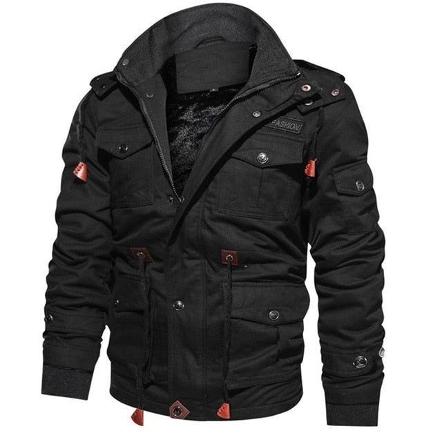 Winter warm men's coat jacket warm hat thick warm clothing men's military jacket men's cotton clothing