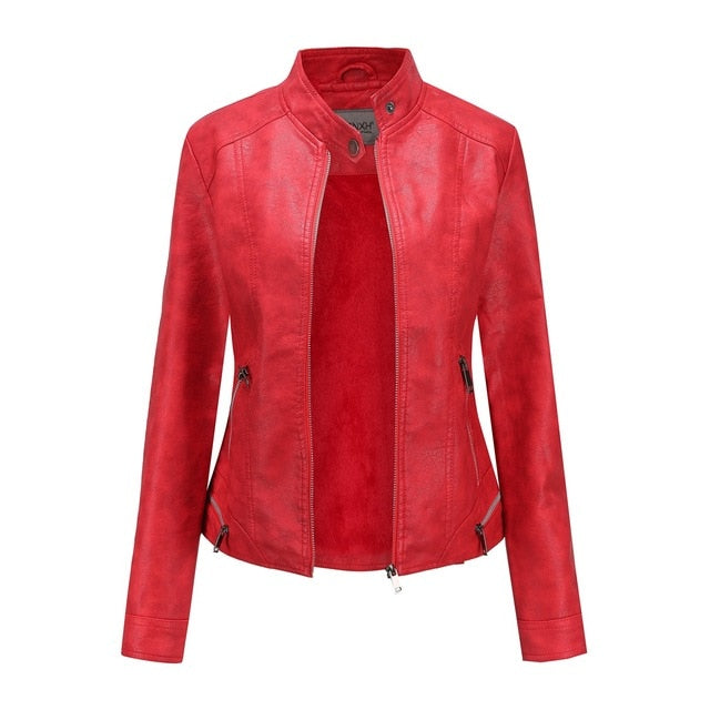 New Autumn and Winter Plus Velvet Jacket Women Solid Color Casual Retro Solid Color Women's Leather Clothes Slim Leather Women