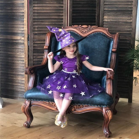 New Halloween Baby Girl Dress Witch Star Cosplay With Hat Children Costumes Kids Dresses for Girl Baby Clothes 0-8Y E2015