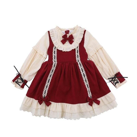 Teenage Girl Lolita Dress New Style Bow Ruffle Long Sleeve Princess Dress Birthday Party Dress Kid Clothes