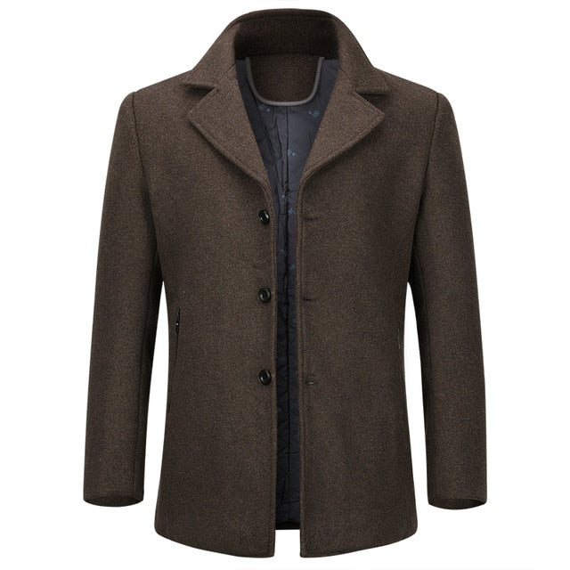 Wool Men's Coat Single Breasted Thick Coats Overcoats Topcoat Mens Fitness Coat Streetwear 4 Colors M-4XL