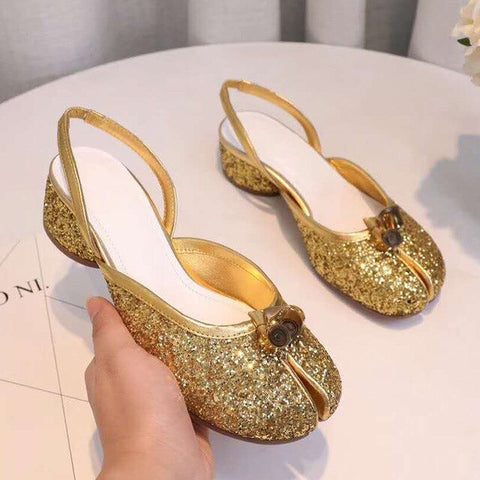 Split-toed shoes female gold silver mid heel clip toe shallow mouth pumps Bowties decor bling bling sandals