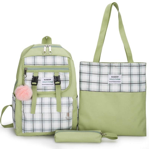 3 Pcs/set Women Canvas Laptop Backpacks For School Teenagers Girls Preppy Style Plaid Shoulder Bag Casual Student Travel Bags