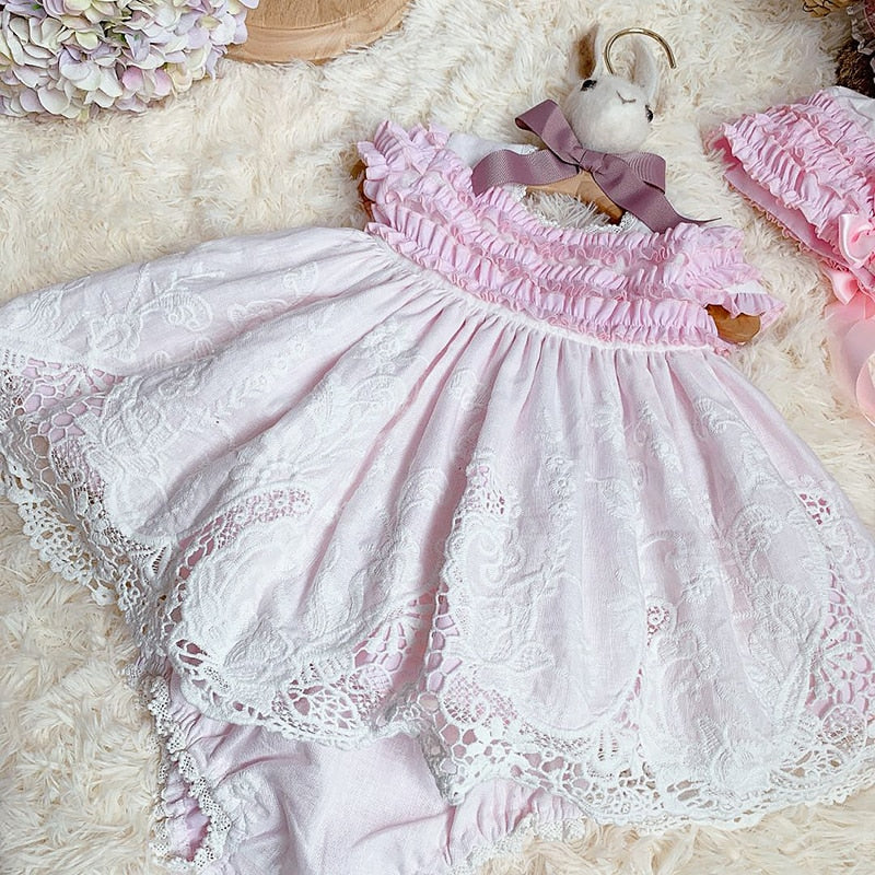 Spanish Custom Summer Dress Girls Sweet Pink Princess Hollow Lace Dress Christmas Dress Girls Party Dress Sweet Lovely